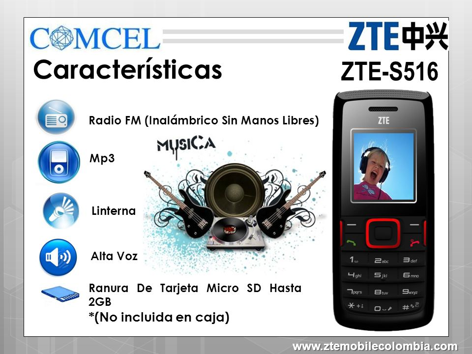 Características ZTE-S516 *(No incluida en caja)