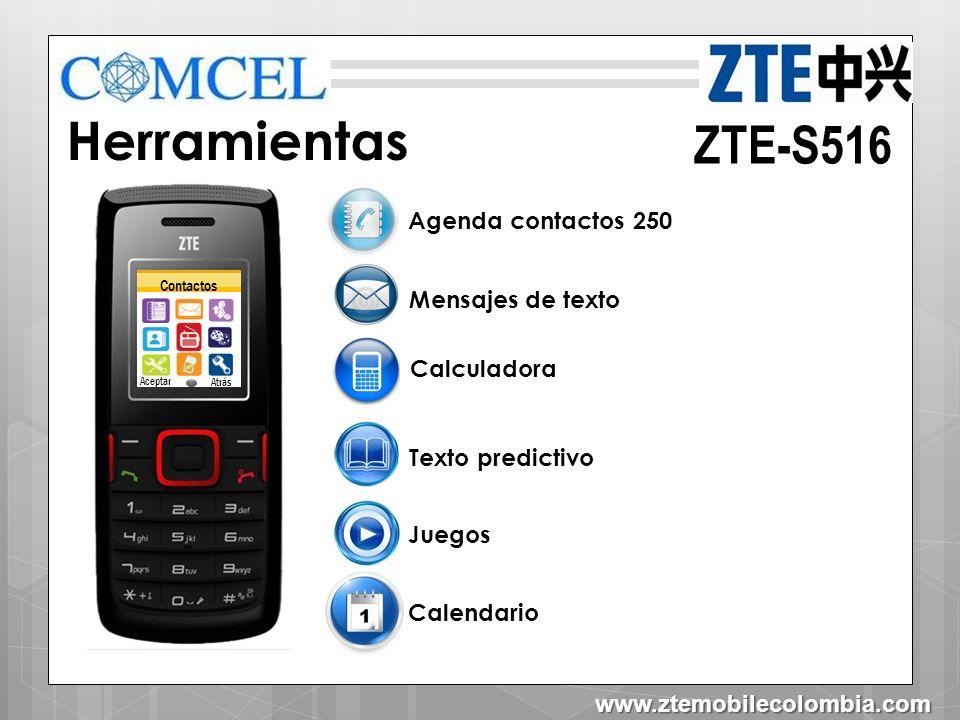 Herramientas ZTE-S516 Agenda contactos 250 Mensajes de texto