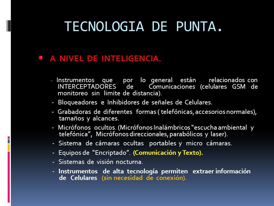 TECNOLOGIA DE PUNTA. A NIVEL DE INTELIGENCIA.