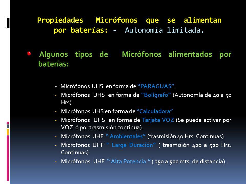 Algunos tipos de Micrófonos alimentados por baterías:
