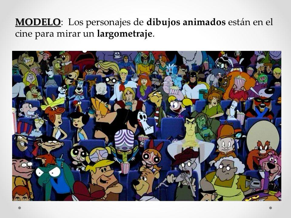 MODELO: Los personajes de dibujos animados están en el cine para mirar un largometraje.