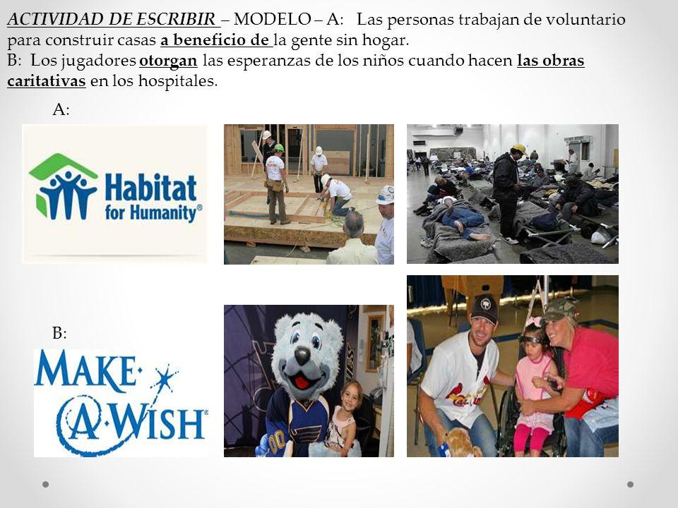 ACTIVIDAD DE ESCRIBIR – MODELO – A: Las personas trabajan de voluntario para construir casas a beneficio de la gente sin hogar.