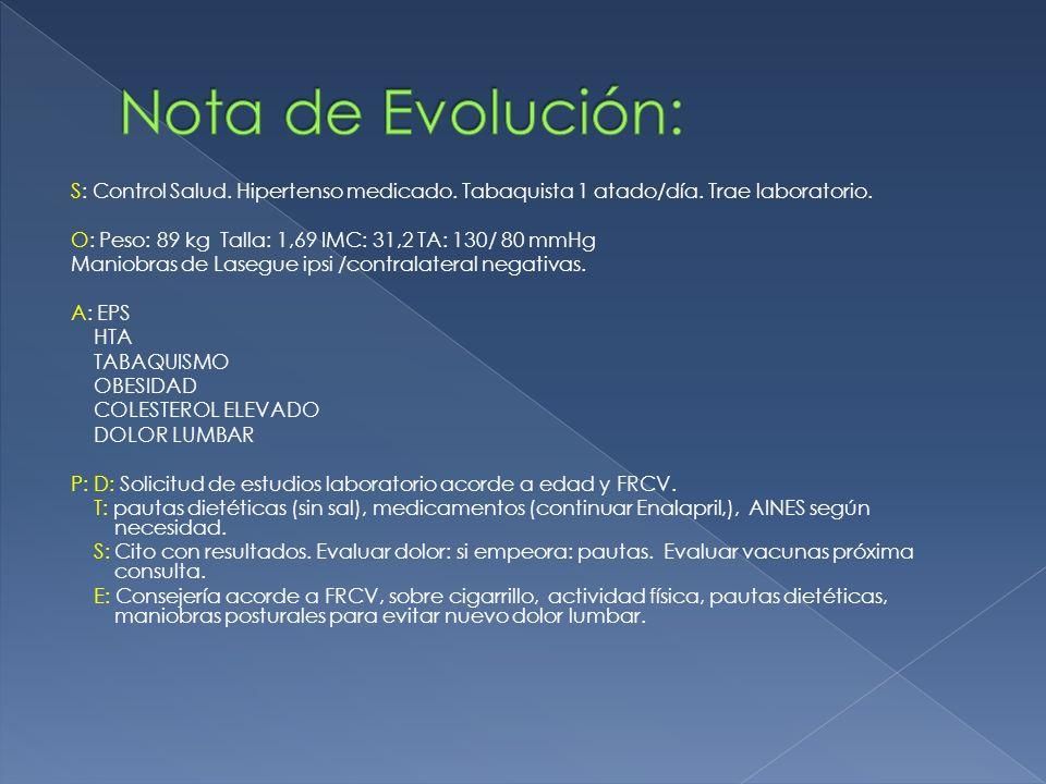 Nota de Evolución: