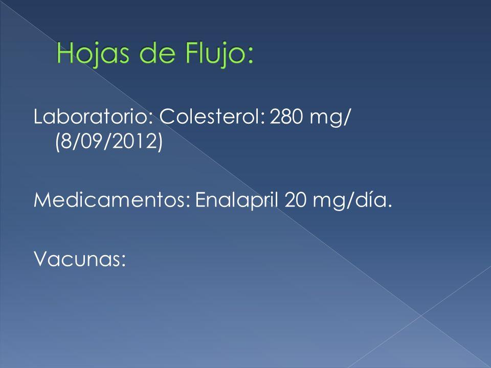 Hojas de Flujo: Laboratorio: Colesterol: 280 mg/ (8/09/2012) Medicamentos: Enalapril 20 mg/día.