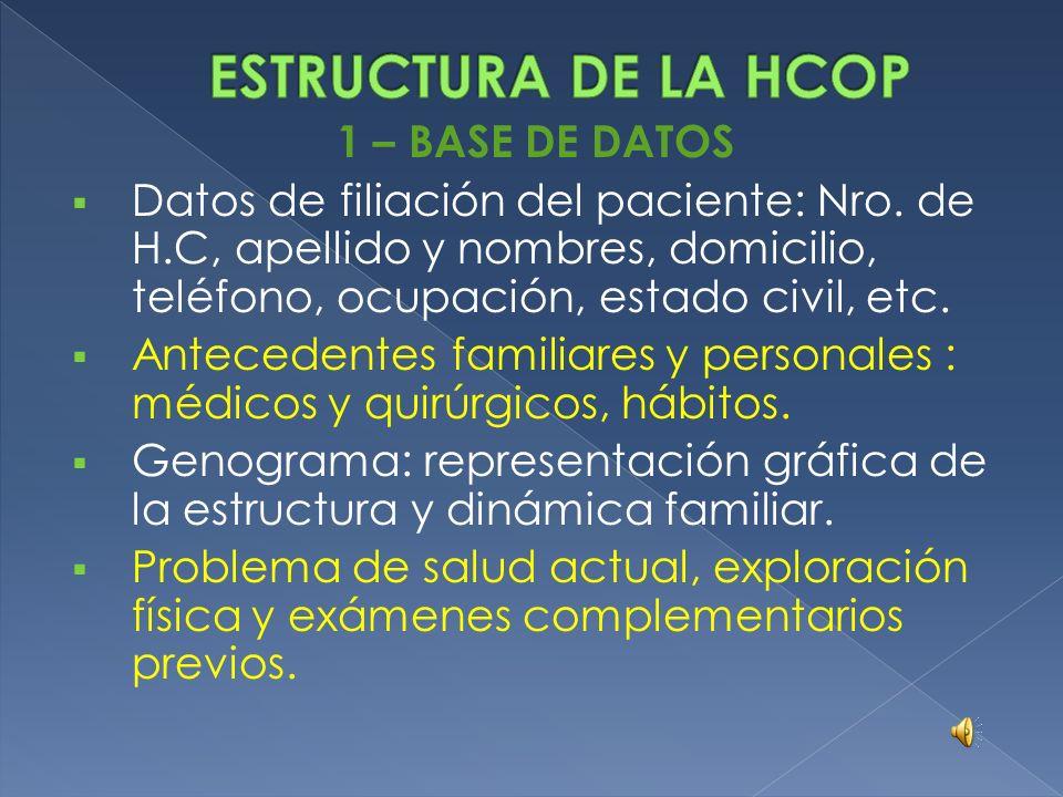 ESTRUCTURA DE LA HCOP 1 – BASE DE DATOS