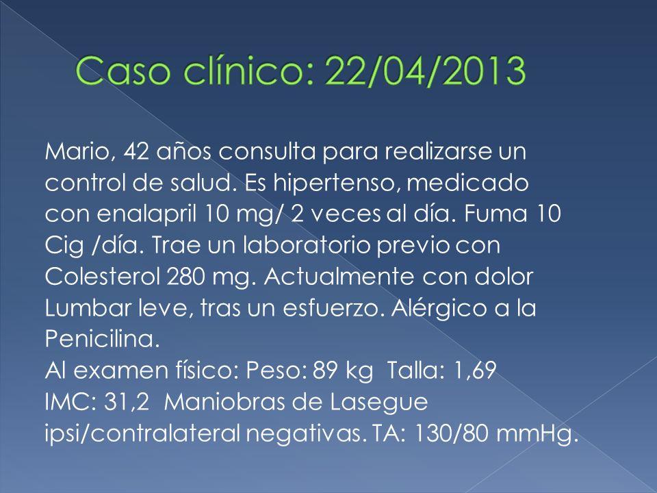Caso clínico: 22/04/2013