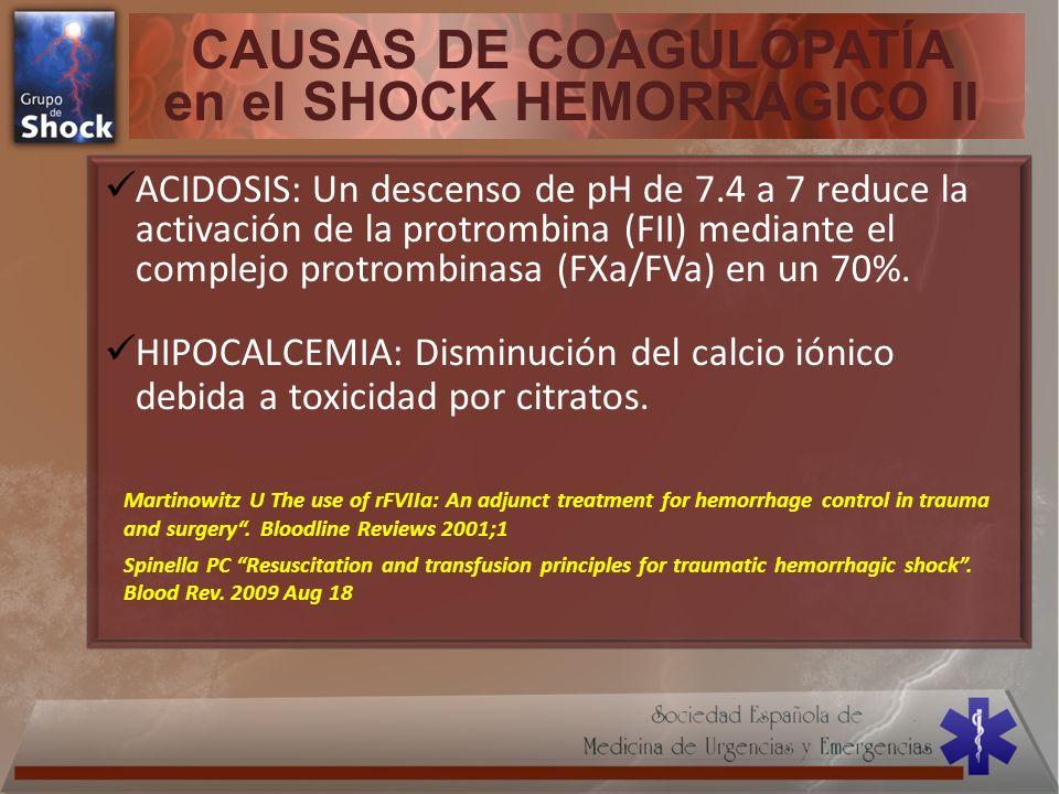 CAUSAS DE COAGULOPATÍA en el SHOCK HEMORRAGICO II