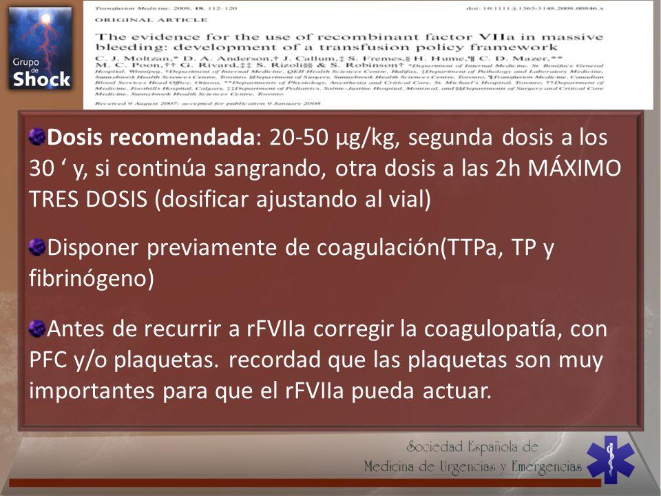 Disponer previamente de coagulación(TTPa, TP y fibrinógeno)