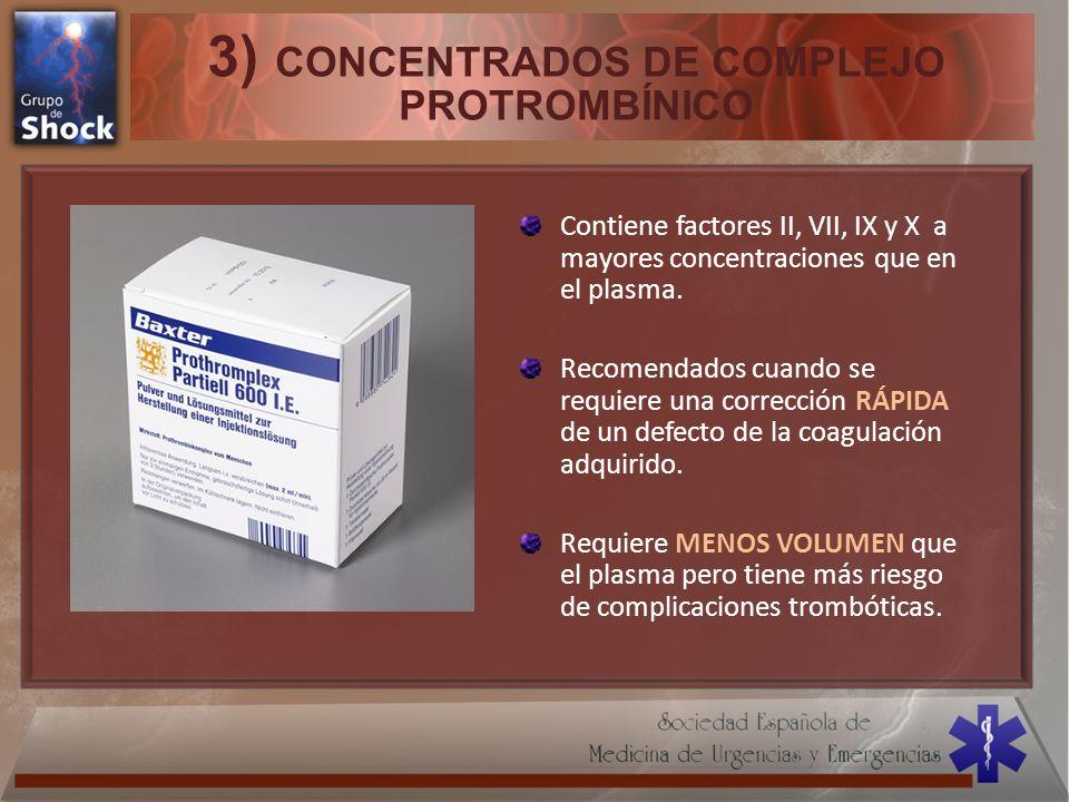 3) CONCENTRADOS DE COMPLEJO PROTROMBÍNICO