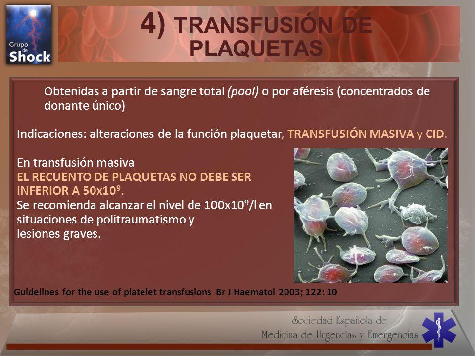 4) TRANSFUSIÓN DE PLAQUETAS