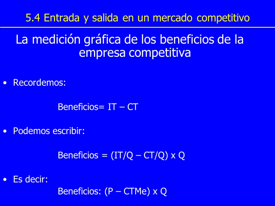 5.4 Entrada y salida en un mercado competitivo