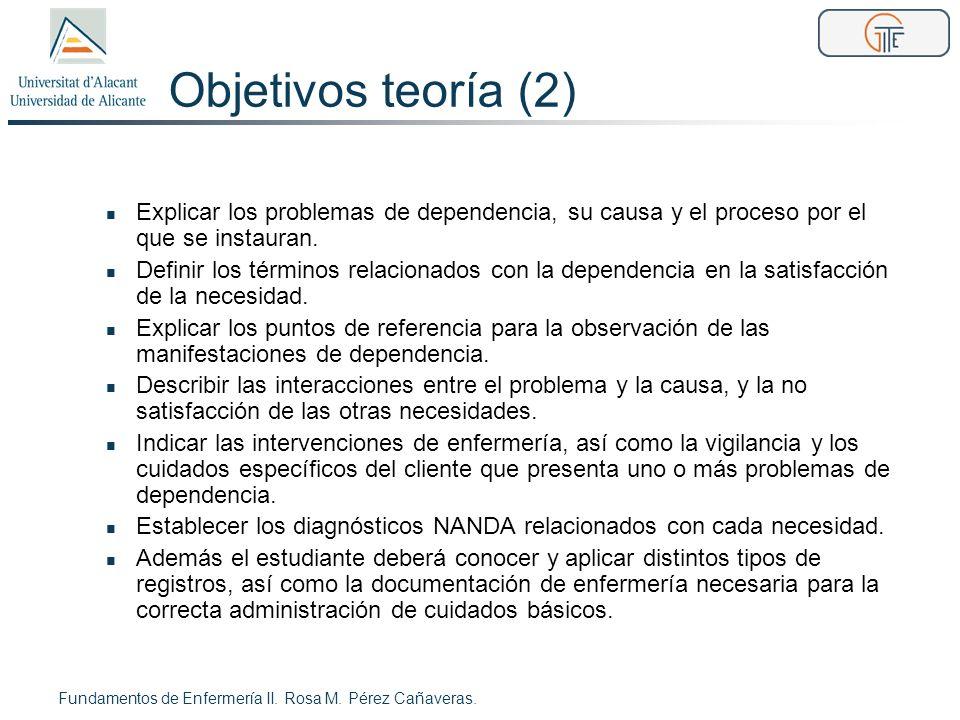 Objetivos teoría (2) Explicar los problemas de dependencia, su causa y el proceso por el que se instauran.