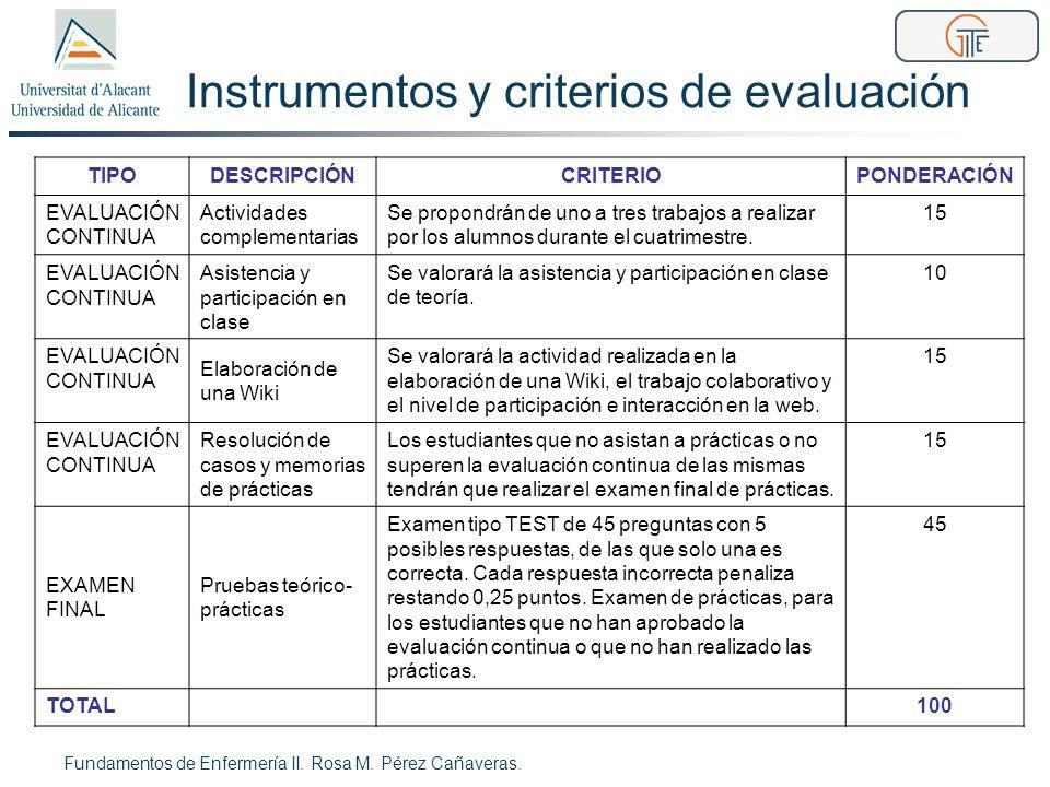 Instrumentos y criterios de evaluación