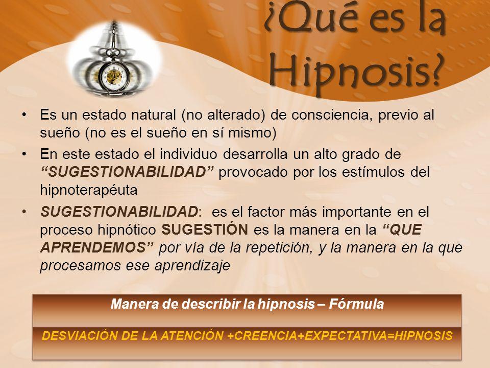 ¿Qué es la Hipnosis Es un estado natural (no alterado) de consciencia, previo al sueño (no es el sueño en sí mismo)