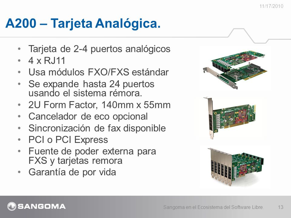 A200 – Tarjeta Analógica. Tarjeta de 2-4 puertos analógicos 4 x RJ11