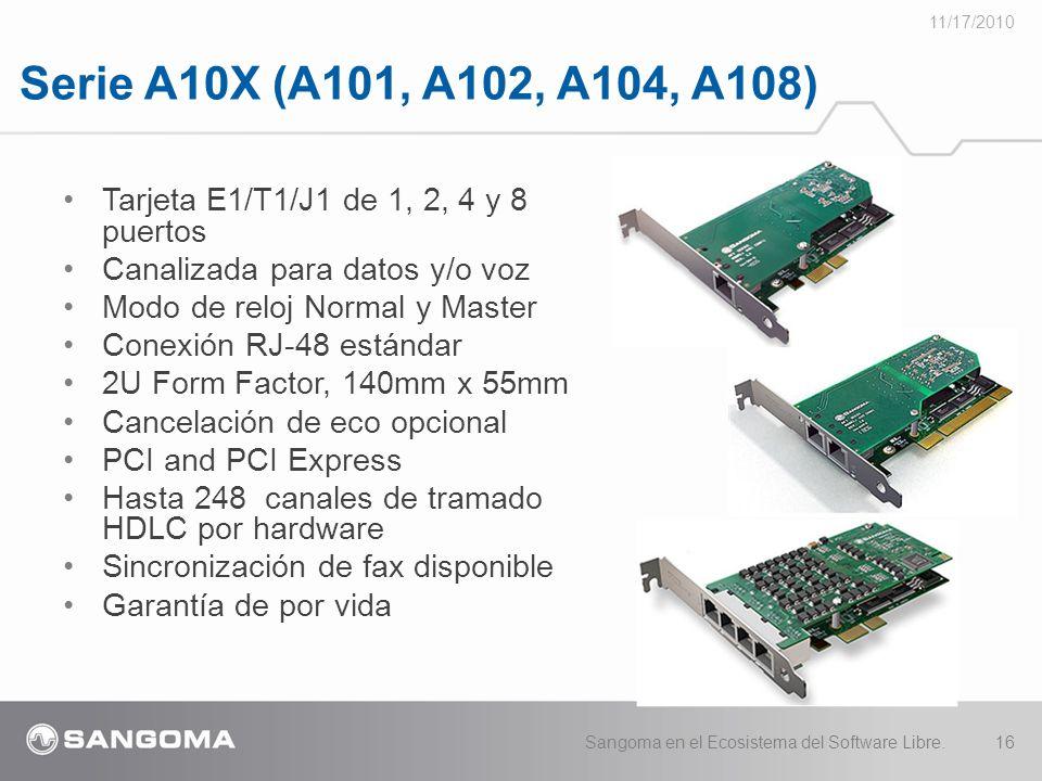 11/17/2010 Serie A10X (A101, A102, A104, A108) Tarjeta E1/T1/J1 de 1, 2, 4 y 8 puertos. Canalizada para datos y/o voz.