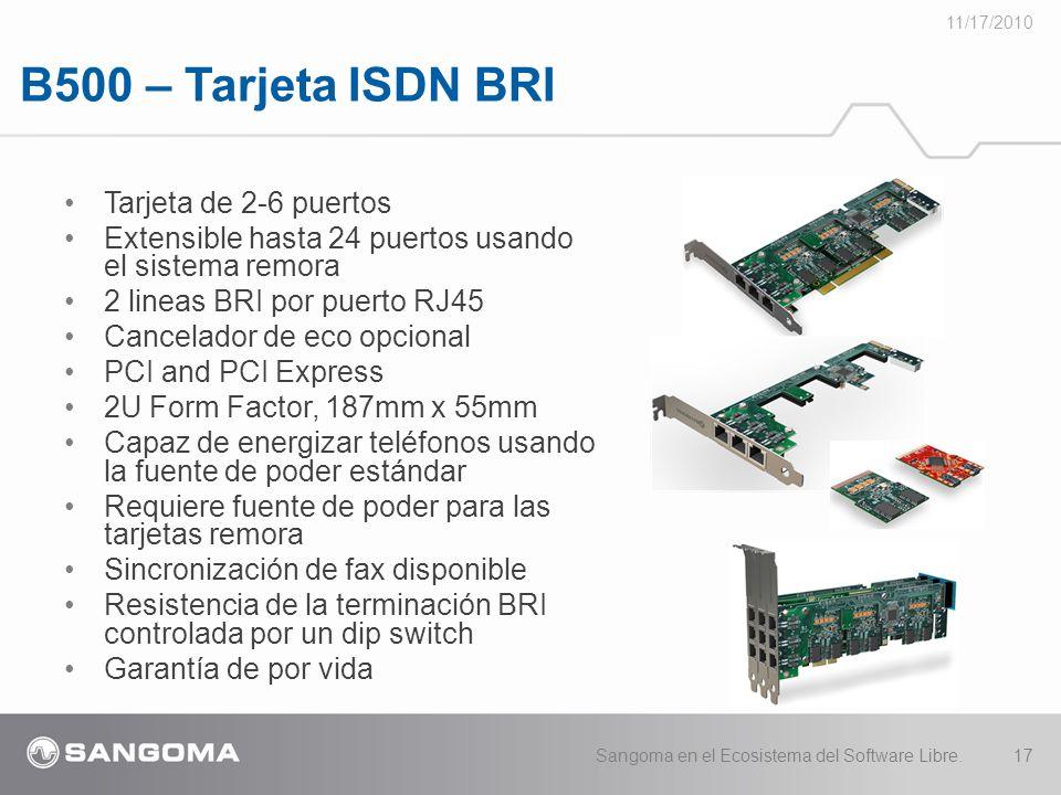 B500 – Tarjeta ISDN BRI Tarjeta de 2-6 puertos