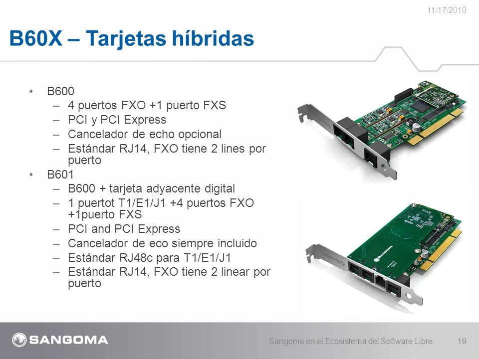 B60X – Tarjetas híbridas B600 4 puertos FXO +1 puerto FXS