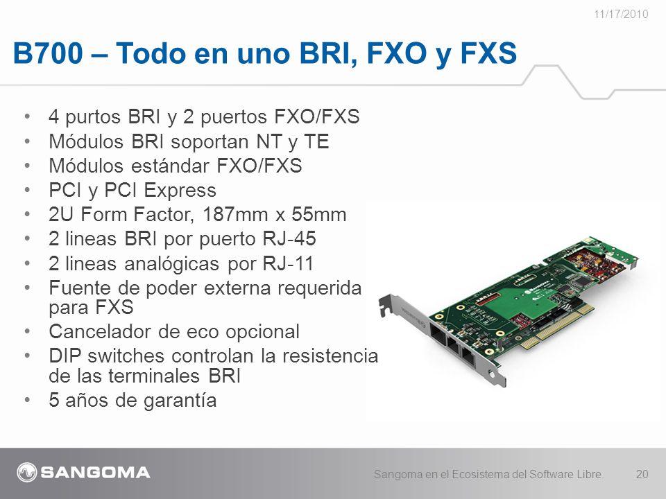 B700 – Todo en uno BRI, FXO y FXS