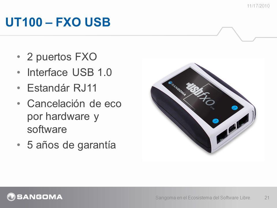 UT100 – FXO USB 2 puertos FXO Interface USB 1.0 Estandár RJ11