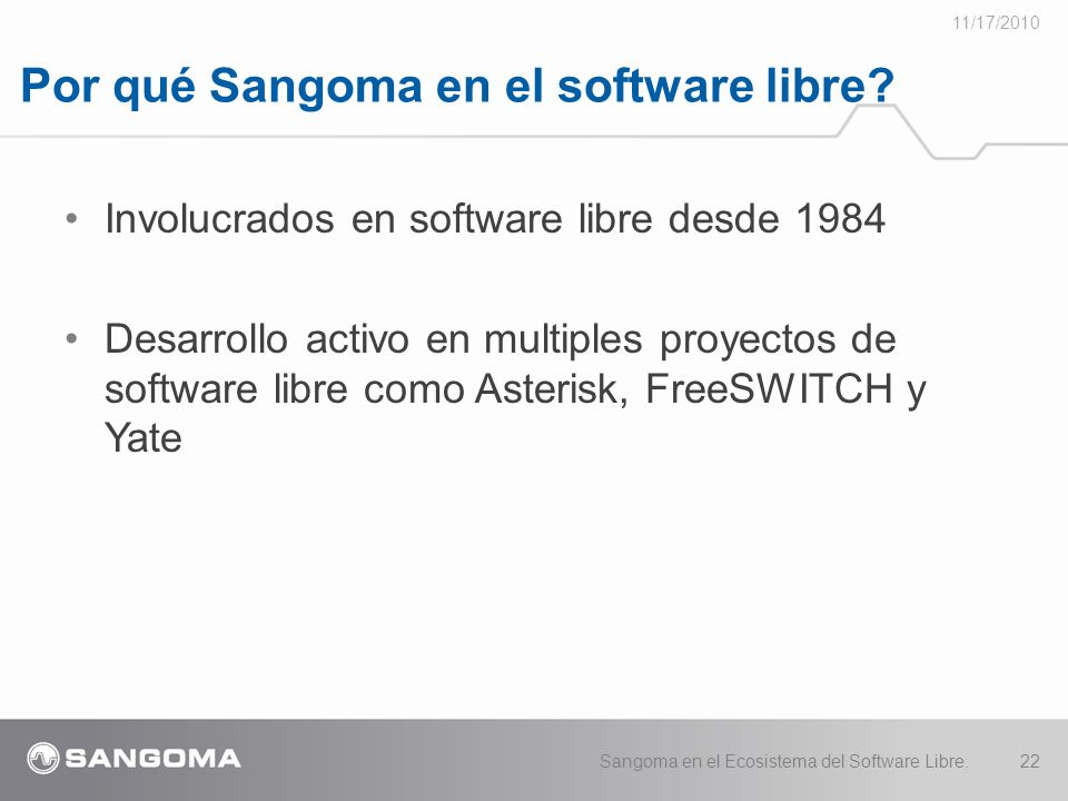 Por qué Sangoma en el software libre