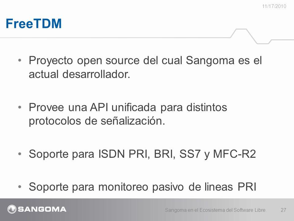 11/17/2010 FreeTDM. Proyecto open source del cual Sangoma es el actual desarrollador.