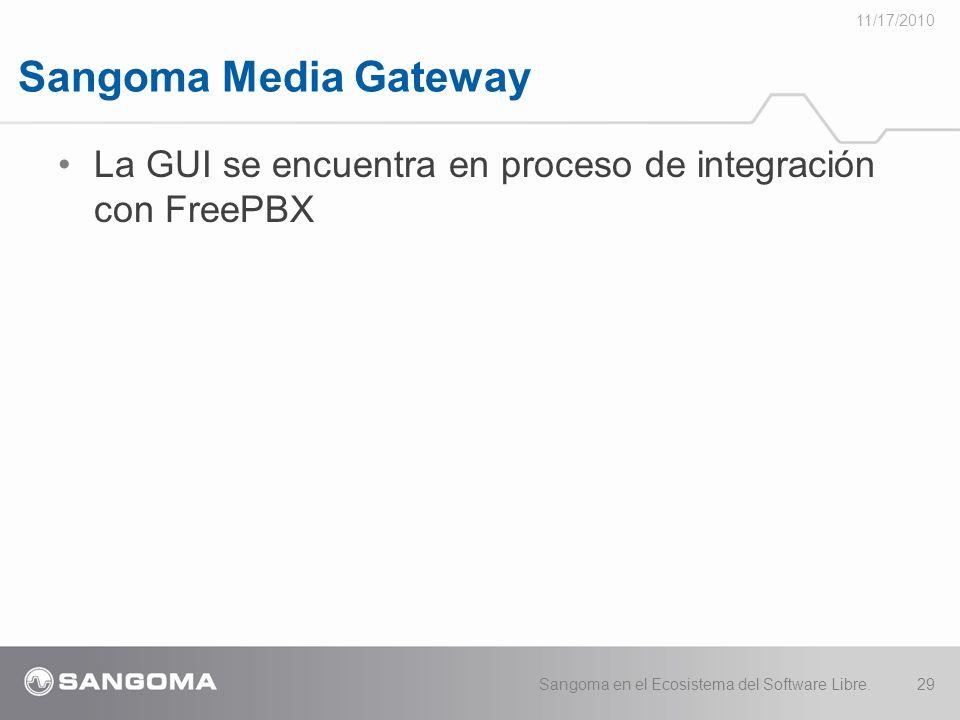 11/17/2010 Sangoma Media Gateway. La GUI se encuentra en proceso de integración con FreePBX.