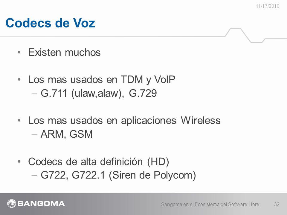 Codecs de Voz Existen muchos Los mas usados en TDM y VoIP