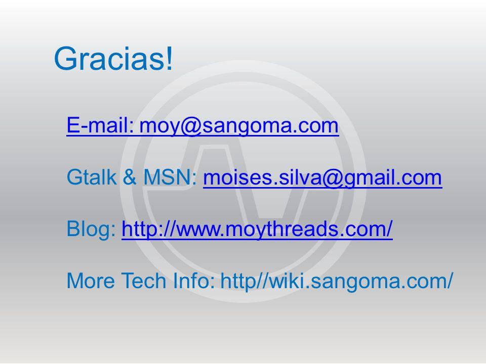 Gracias! E-mail: moy@sangoma.com Gtalk & MSN: moises.silva@gmail.com
