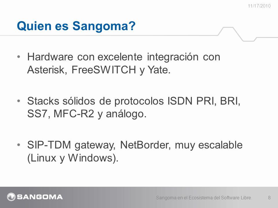 11/17/2010 Quien es Sangoma Hardware con excelente integración con Asterisk, FreeSWITCH y Yate.