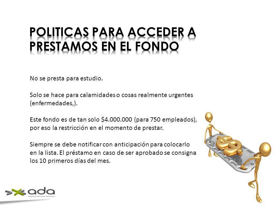 POLITICAS PARA ACCEDER A PRESTAMOS EN EL FONDO