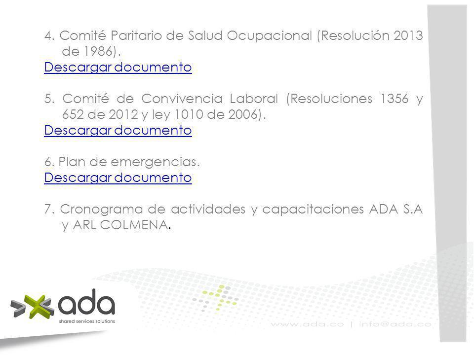 4. Comité Paritario de Salud Ocupacional (Resolución 2013 de 1986).