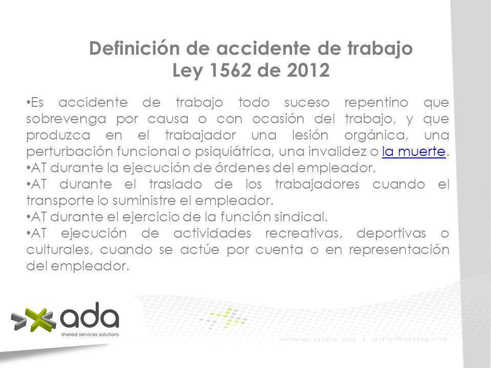 Definición de accidente de trabajo Ley 1562 de 2012