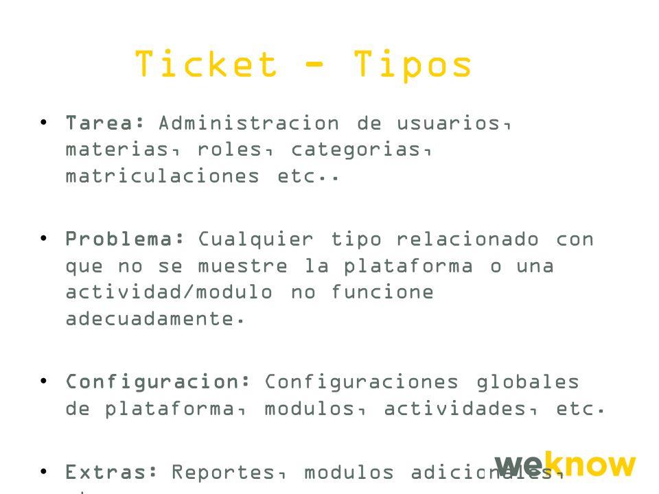 Ticket - Tipos Tarea: Administracion de usuarios, materias, roles, categorias, matriculaciones etc..