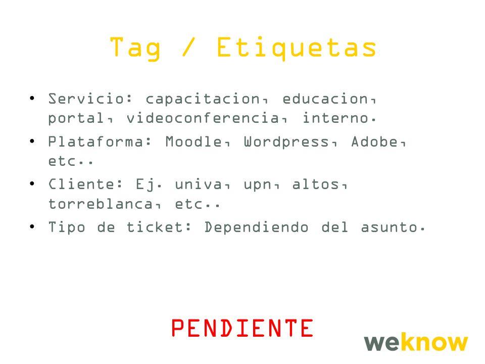 Tag / Etiquetas PENDIENTE