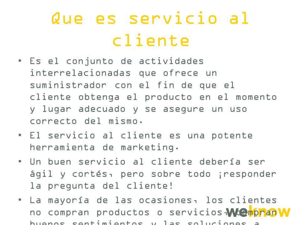 Que es servicio al cliente