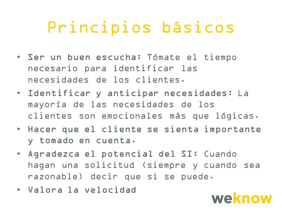 Principios básicos Ser un buen escucha: Tómate el tiempo necesario para identificar las necesidades de los clientes.