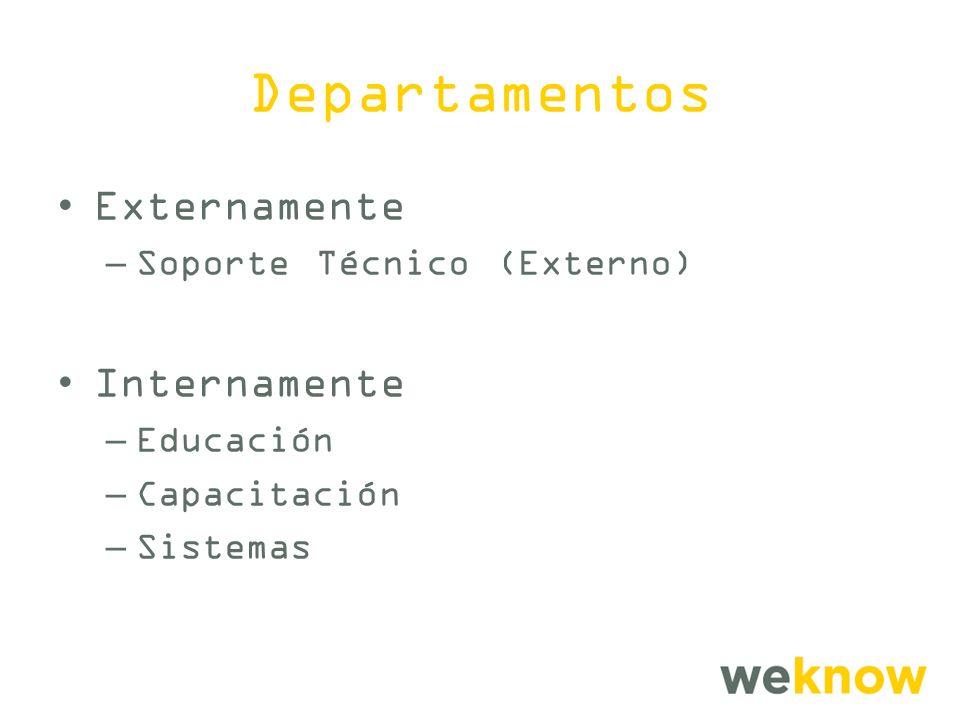 Departamentos Externamente Internamente Soporte Técnico (Externo)