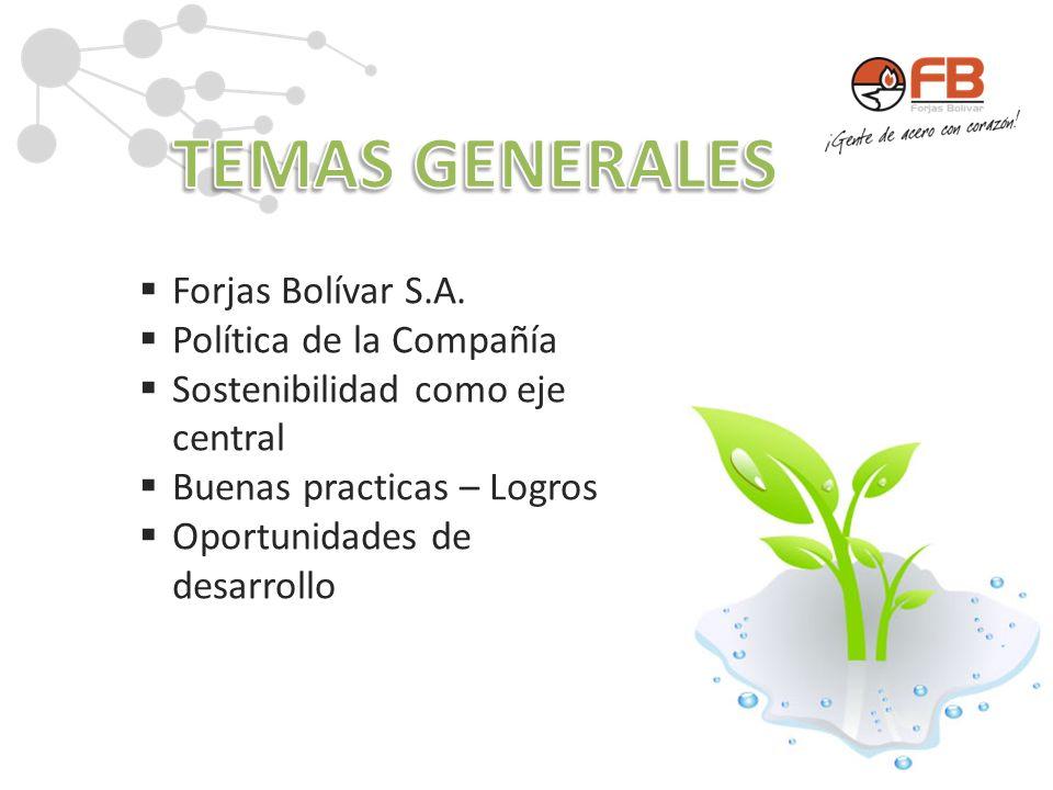 TEMAS GENERALES Forjas Bolívar S.A. Política de la Compañía
