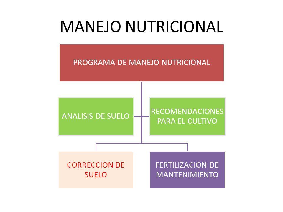 MANEJO NUTRICIONAL PROGRAMA DE MANEJO NUTRICIONAL CORRECCION DE SUELO