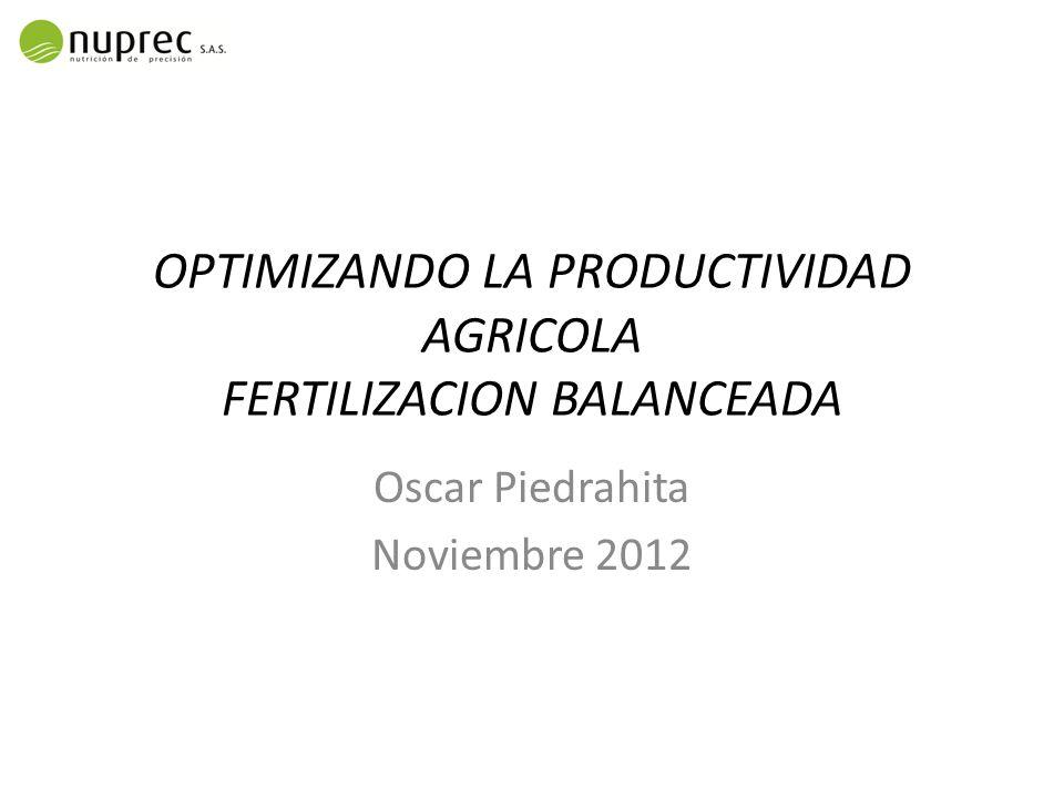OPTIMIZANDO LA PRODUCTIVIDAD AGRICOLA FERTILIZACION BALANCEADA