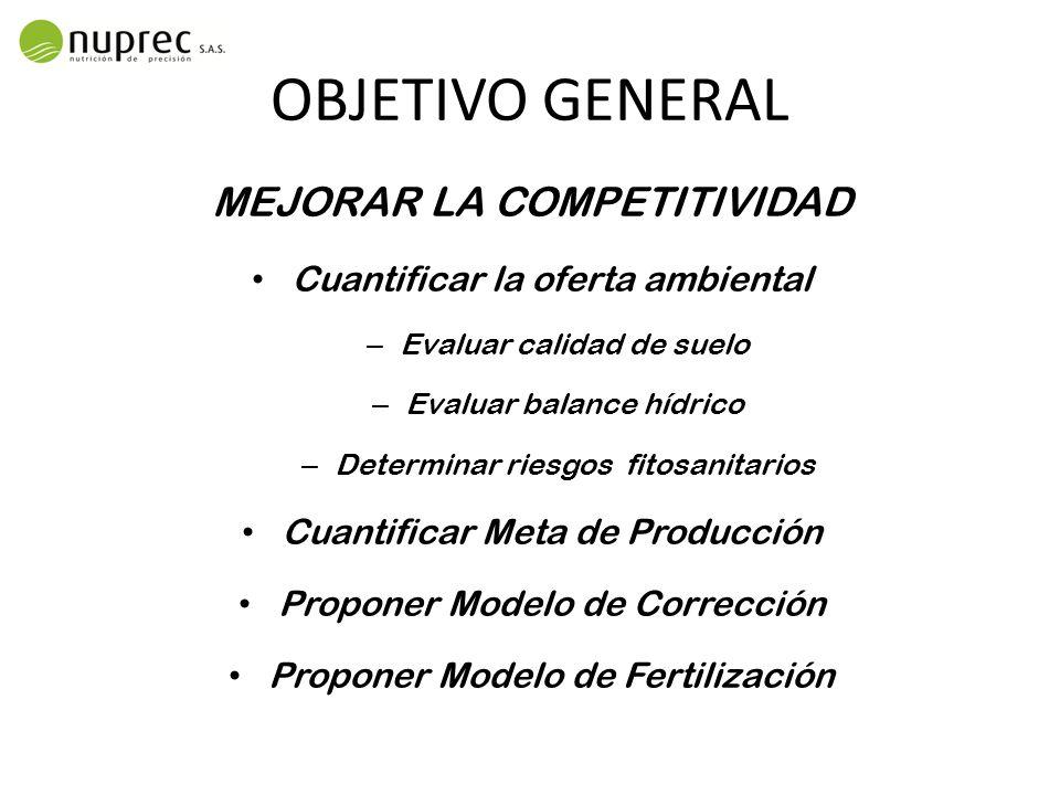OBJETIVO GENERAL MEJORAR LA COMPETITIVIDAD
