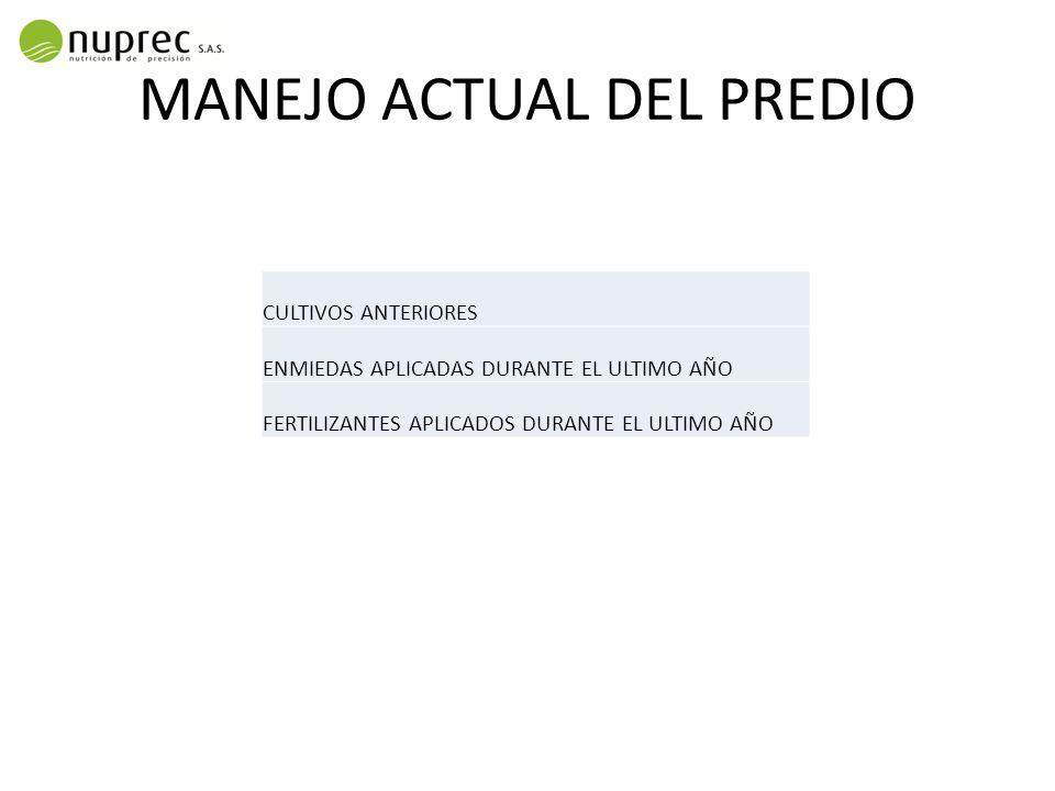 MANEJO ACTUAL DEL PREDIO
