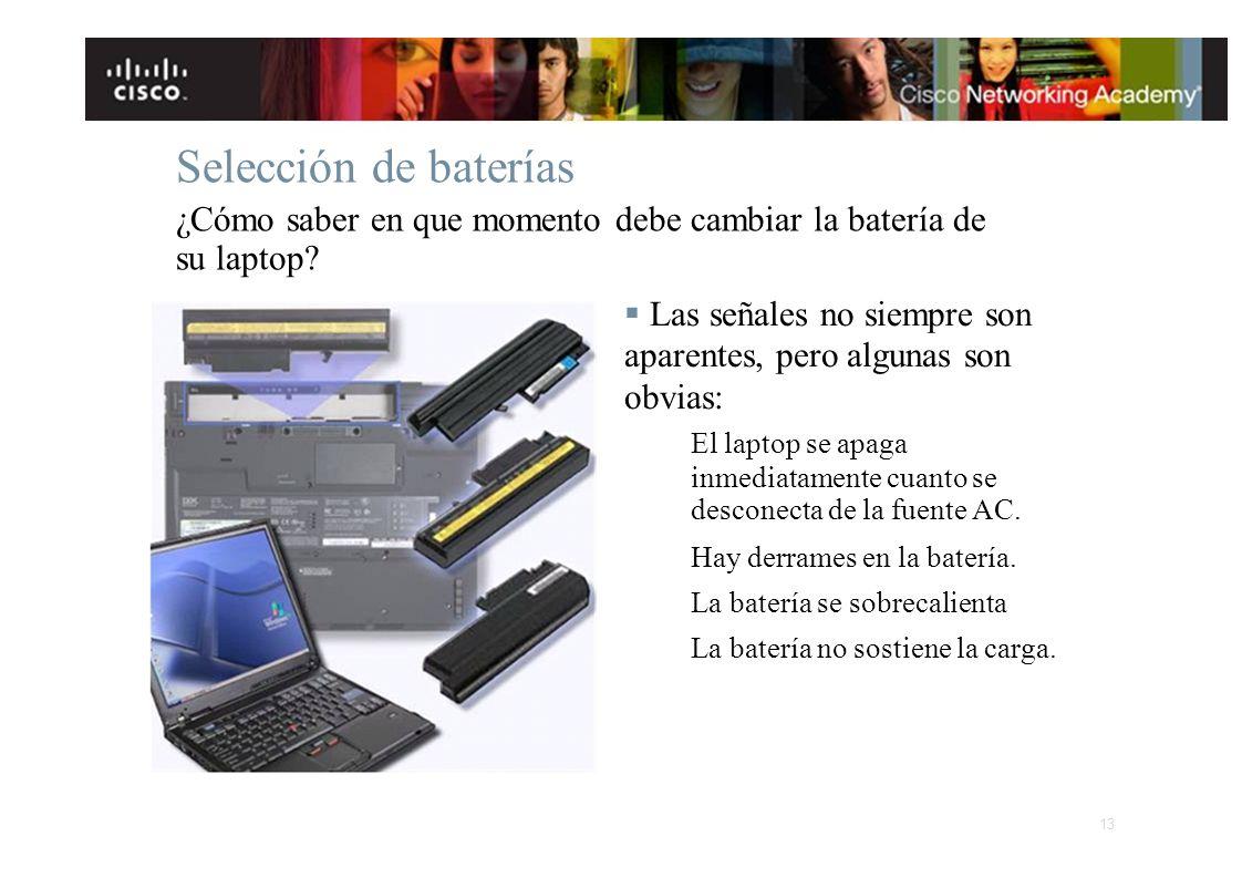 Selección de baterías ¿Cómo saber en que momento debe cambiar la batería de su laptop