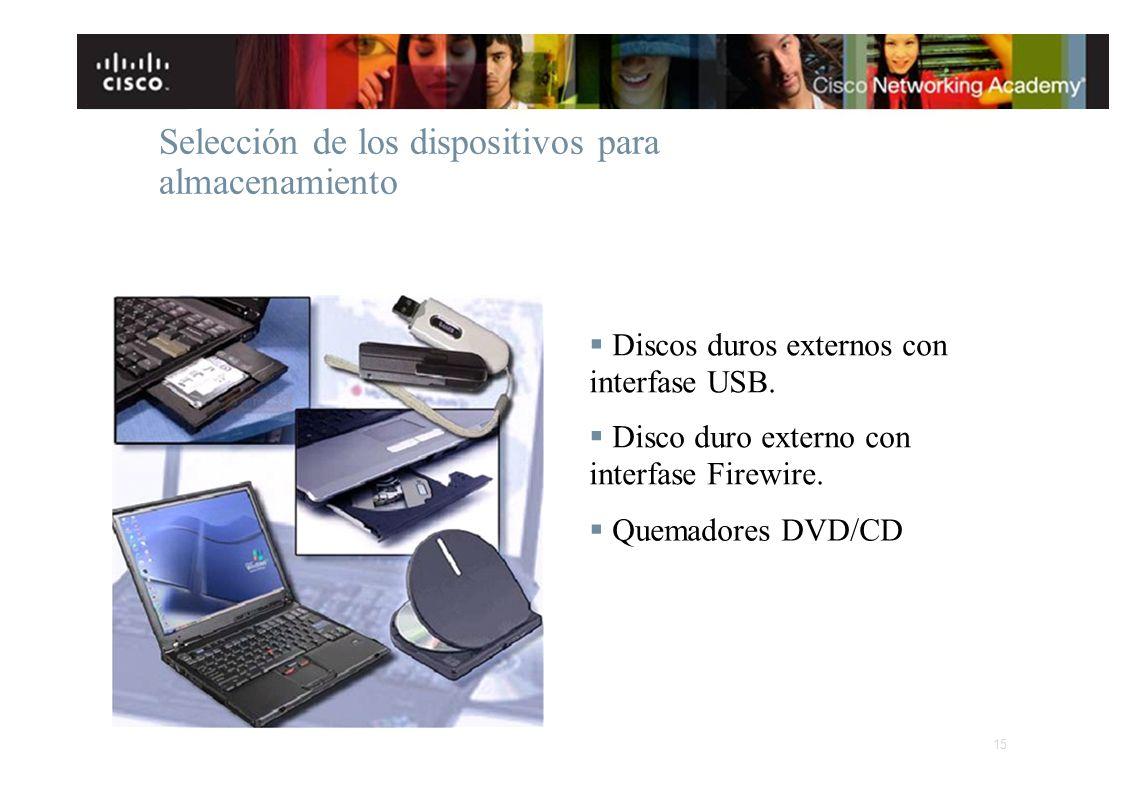 Selección de los dispositivos para almacenamiento