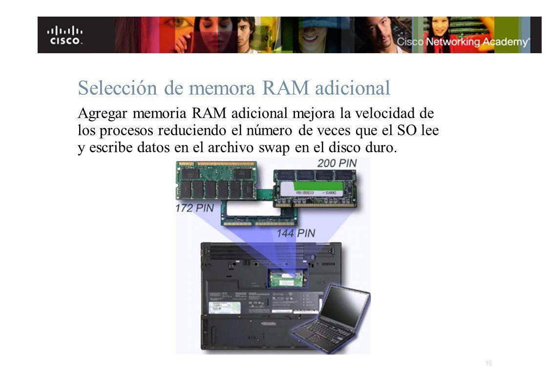 Selección de memora RAM adicional