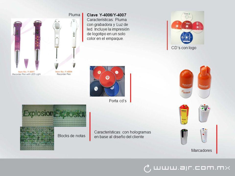 Pluma Clave Y-4006/Y-4007. Características: Pluma con grabadora y Luz de led. Incluye la impresión de logotipo en un solo color en el empaque.