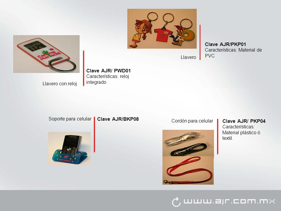 Clave AJR/PKP01 Clave AJR/ PWD01 Clave AJR/BKP08 Clave AJR/ PKP04
