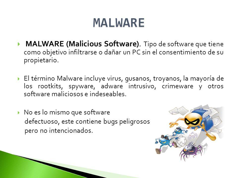MALWARE MALWARE (Malicious Software). Tipo de software que tiene como objetivo infiltrarse o dañar un PC sin el consentimiento de su propietario.