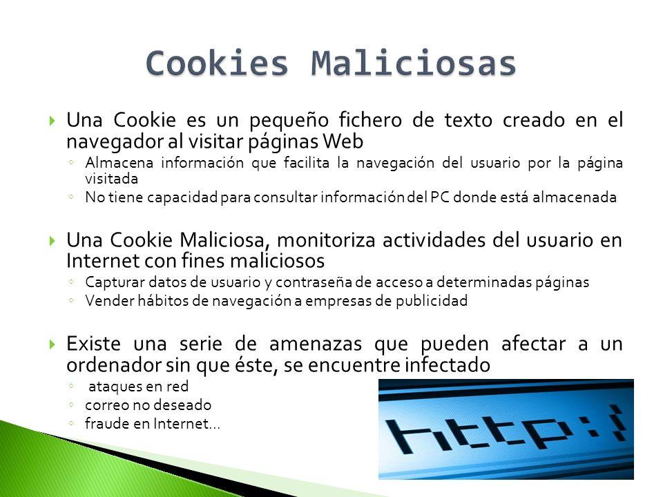 Cookies Maliciosas Una Cookie es un pequeño fichero de texto creado en el navegador al visitar páginas Web.